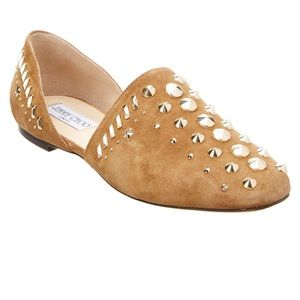 Jimmy Choo Embellished suede flat. Made in Italy.